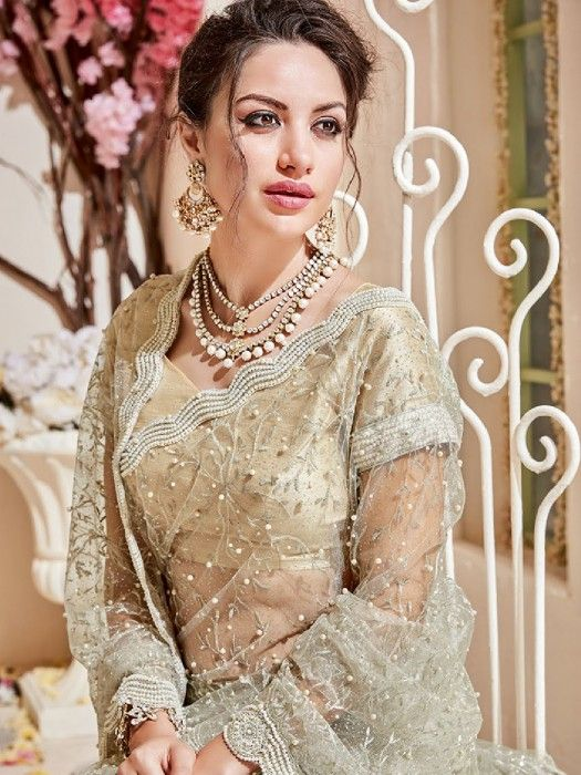 21428cc79a Party Wear Saree In Cream Net Fabric, embroidered net saree, partywear saree,  gold saree, wedding saree 2018, cocktail party saree,