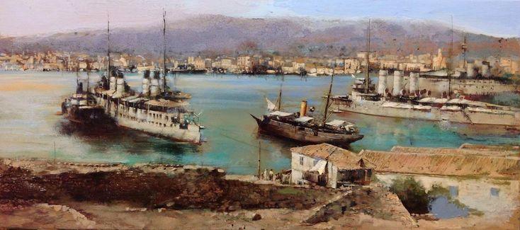 Πειραιάς, αρχές 1900 Λάδι σε μουσαμά