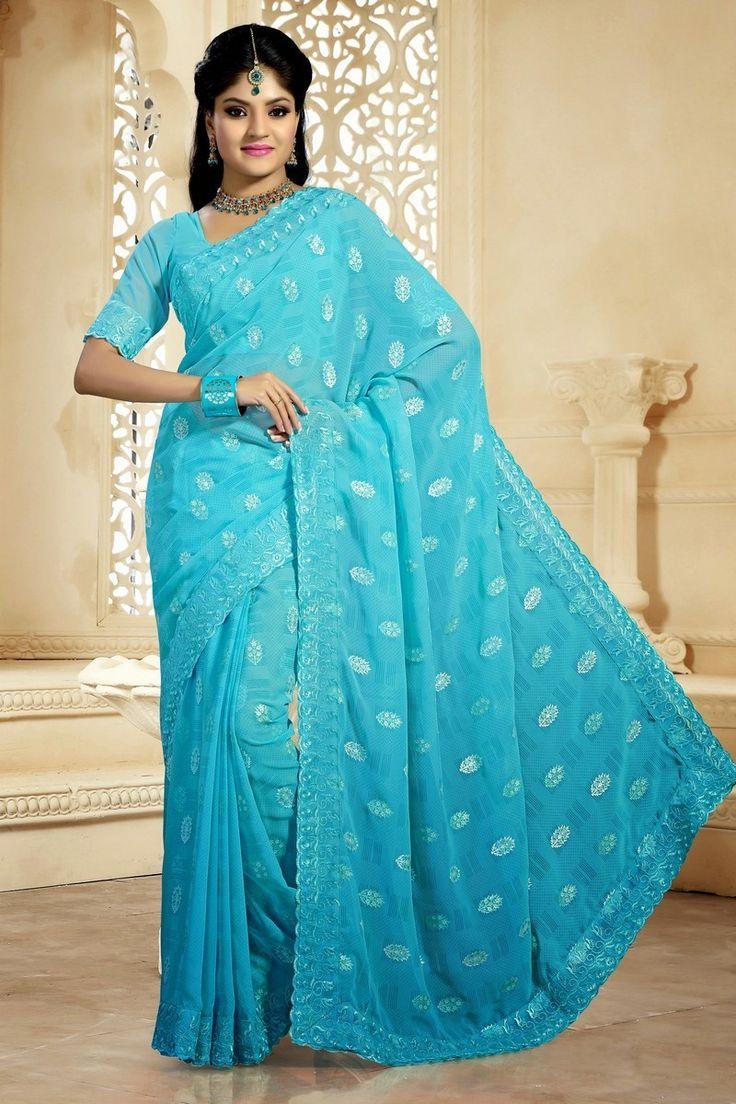 Alluring Aqua #Blue Faux #Georgette #Embroidered #Saree  @mokshafashions