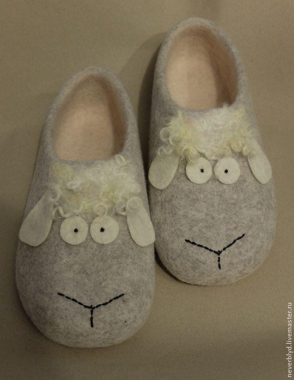 """♡ Купить Тапки """"Раз овечка, два овечка..."""" - серый, Овечки, овцы, овечка, 2015 год"""