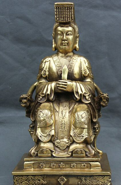 12 Китайский Латунь Ван Му Королева-Мать Императрица Богиня Сиденья Дракон Председатель Статуя S0706 Скидка 35%