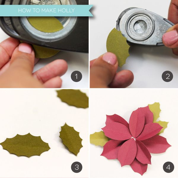 Easy Paper Punched Poinsettias | How to make Holly