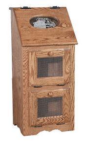 Superior Amish Vegetable Bin Bread Box Potato Storage Solid Wood Cupboard Cabinet New