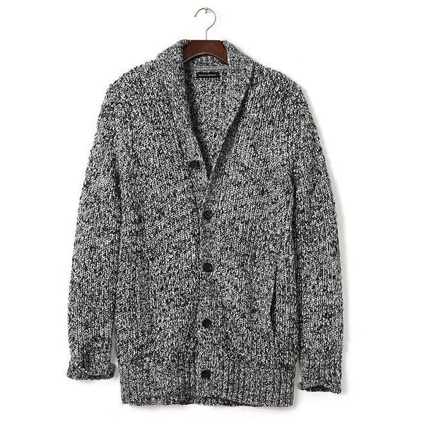 Banana Republic men's Long Marled Cardigan - bought it for myself at a 50% off the last sale price sale for only CDN$21 (reg. price $185) - couldn't knit anything similar for anywhere near that price!!