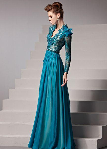 Dark Navy Feather V-Neck A-line Women's Evening Dress