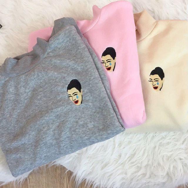 kimoji crying kim kardashian embroidery patch long sleeve sweatshirt emoji
