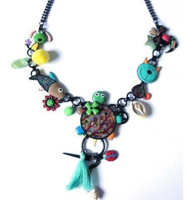 Collier lol bijoux tortue tons turquoises en vente sur www.yokaso.fr