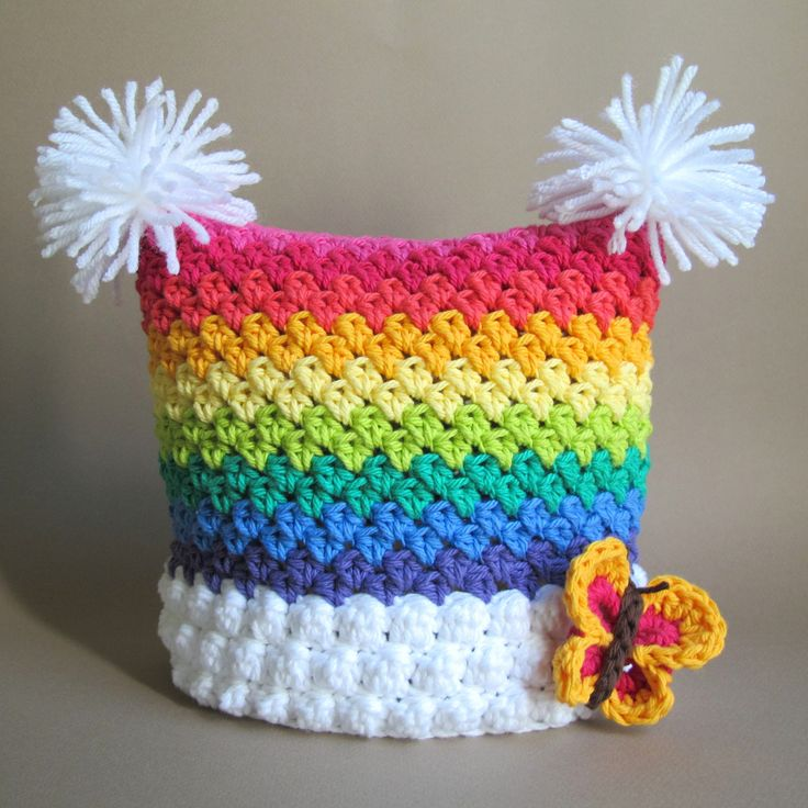 PATTERN - Over the Rainbow - a colorful, striped, square hat with butterfly and pom-poms in 6 sizes (Infant - Adult S)