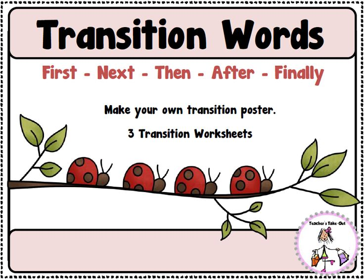 Free Transition Words idea for a poster to hang in your classroom. Plus 3 worksheets to use when sequencing a story using the words: First, Next, Then, After, Finally.