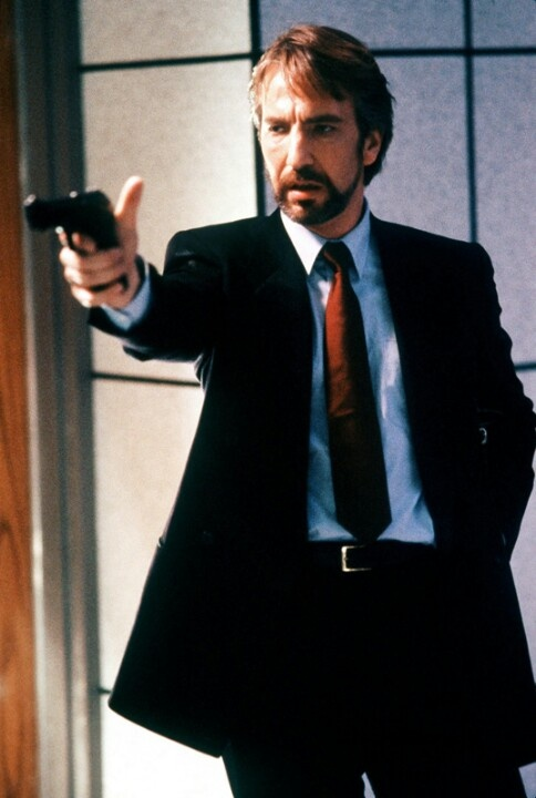 Hans Gruber (from Die Hard, 1988). Portrayed by Alan Rickman