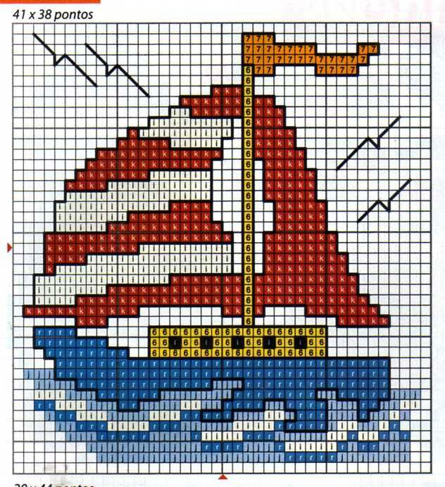 Barco velero punto en cruz