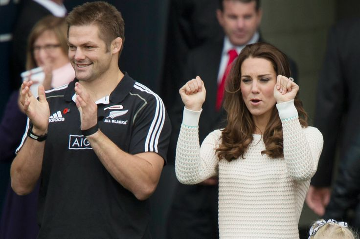 The Duke and Duchess of Cambridge watch a rugby match today with Richie McCaw