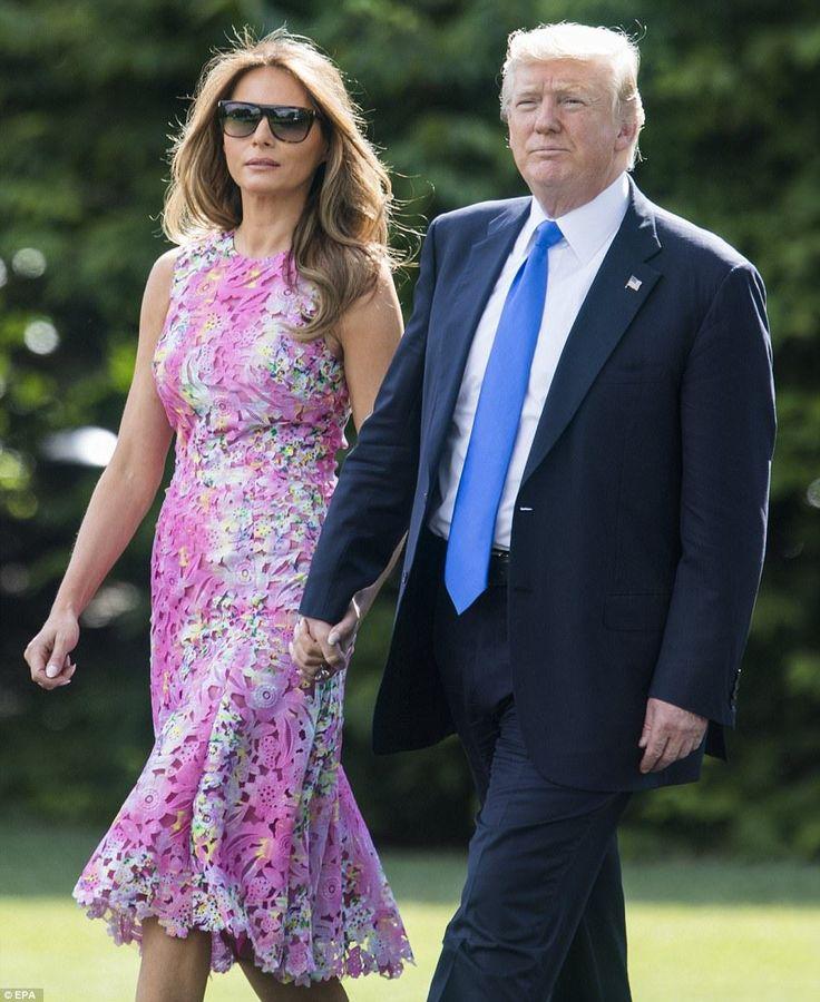 PHOTOS: Melania Trump Stuns Once Again In A Pink Floral-Print Dress