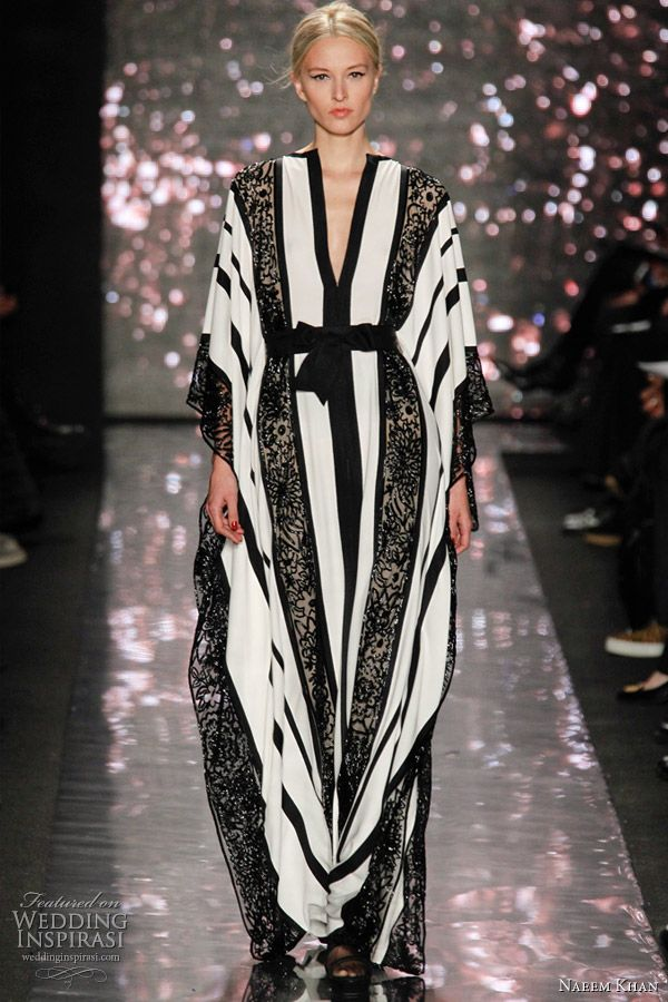 naeem khan fall 2012 kaftan: What do you see when you look at this model?? The dramatic contrasting stripes over power the scene.  To successfully wear a colour combination that is dramatic the client needs to have strong contrasting  elements in their own palette. Great on girls with porcelain skin tones, jet black hair and dark eyes. Oh and don't forget the red lippy to help/