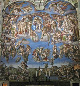 El Juicio Final. Capilla Sixtina. Miguel Ángel Buonarrotti, (1508-12), el Vaticano.