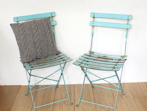 Vintage Metal Folding Garden Chairs Turquoise Retro