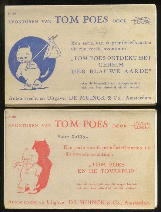 Tom Poes - 1e en 2e set Prentriefkaarten- 1) ontdekt het geheim van de blauwe aarde & 2) de Toverpijp - (1942)  Meteen vanaf 1941 was Tom Poes razend populair en dus werden er ook puzzels beeldjes en kaarten gemaakt. Zo schilderde Toonder in 1942 de eerste 8 verhalen opnieuw (maar nu in kleur) met van elk verhaal 6 prachtige voorstellingen. Daarvan werden kaarten gemaakt die dus het verhaaltje illustreren/vertellen. Om de 6 kaarten ging een papieren wikkel waarop stond welk verhaaltje het…