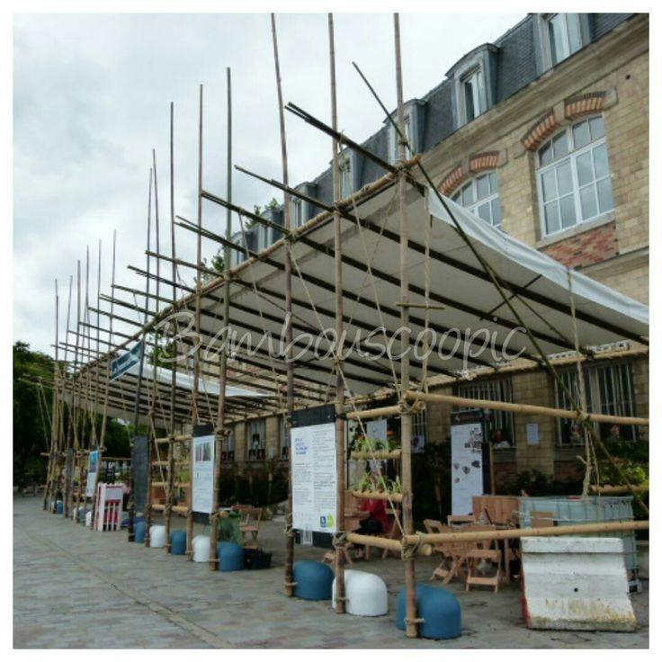 Structure bambou. Appentis crée par Les Ateliers Invit et Bambouscoopic. Made in France! Au canal de l Ourc à Paris