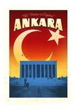 Vintage Ankara Turkey Travel Poster A3/A2/A1 Print