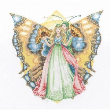 Borduurpakket Vlinders Aida - Maria van Scharrenburg (Lanarte)