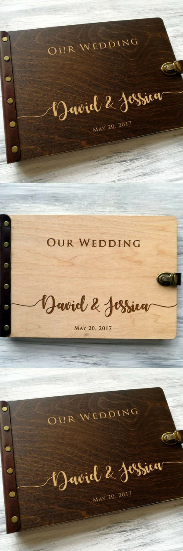 It's a beautiful Wedding Photo Album made of wood and leather that will  accurately keep your memories about this special day. And years after  you'll look through it and your memory will fly you back to such a happy  day.  Wedding Photo Album Wood Photo Album Personalized Photo Album Custom  Wedding Album Wooden Photobook Wedding Gift Ideas Gift for Couple. #weddingideas #ad #giftideas