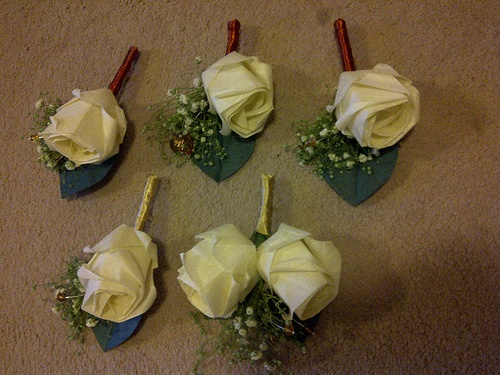 origami rose button holes - wedding