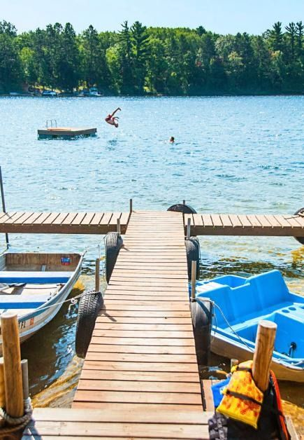 Tee Lake Resort in Lewiston, Michigan, has transformed four 1930s-era lakeside cabins into fun themed spaces with headboards fashioned from old doors and vintage dishes used as accents. Guests get free access to pedal boats, kayaks and weekly s'more making around the bonfire.