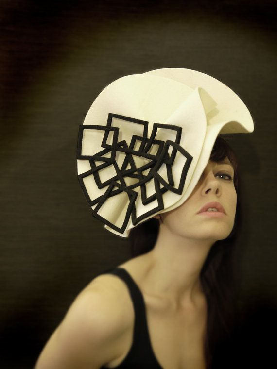 Cream and Black Felt Hat  Fractal Series  Made to by pookaqueen, $180.00