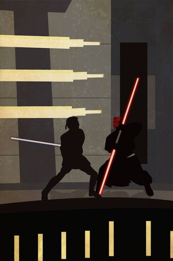 Star Wars The Phantom Menace Obi Wan Darth Maul Duel Retro Silhouette Minimalist Episode 1 Prequel T Star Wars Wallpaper Star Wars Images Star Wars Background