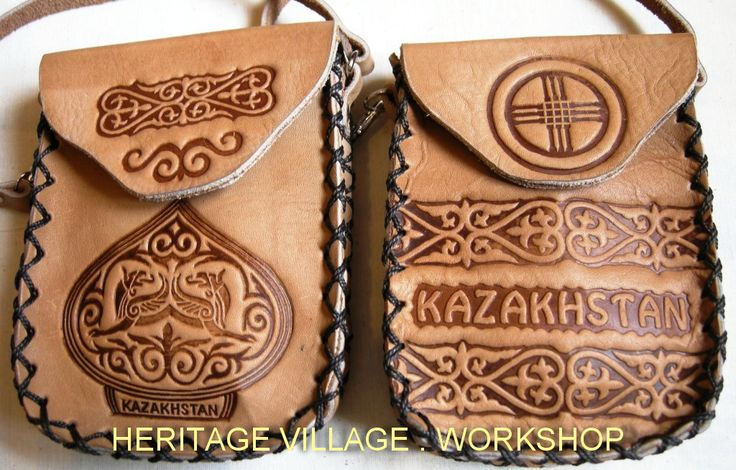 Handmade leather case with Kazakhstan  local symbol  and old kazakh ornament .  #kazakhstan , #ornament , #leathercraft