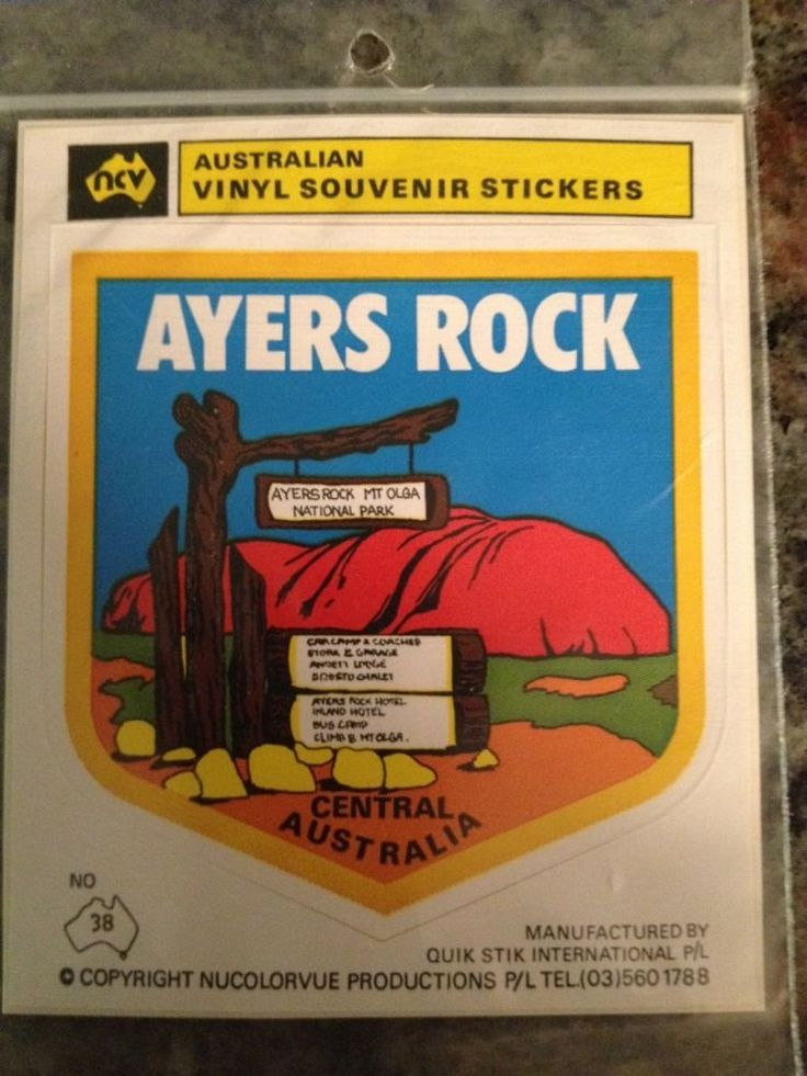 VINTAGE Australian Travel Sticker Decal ~ AYERS ROCK - 70-80s Perfect Never Open