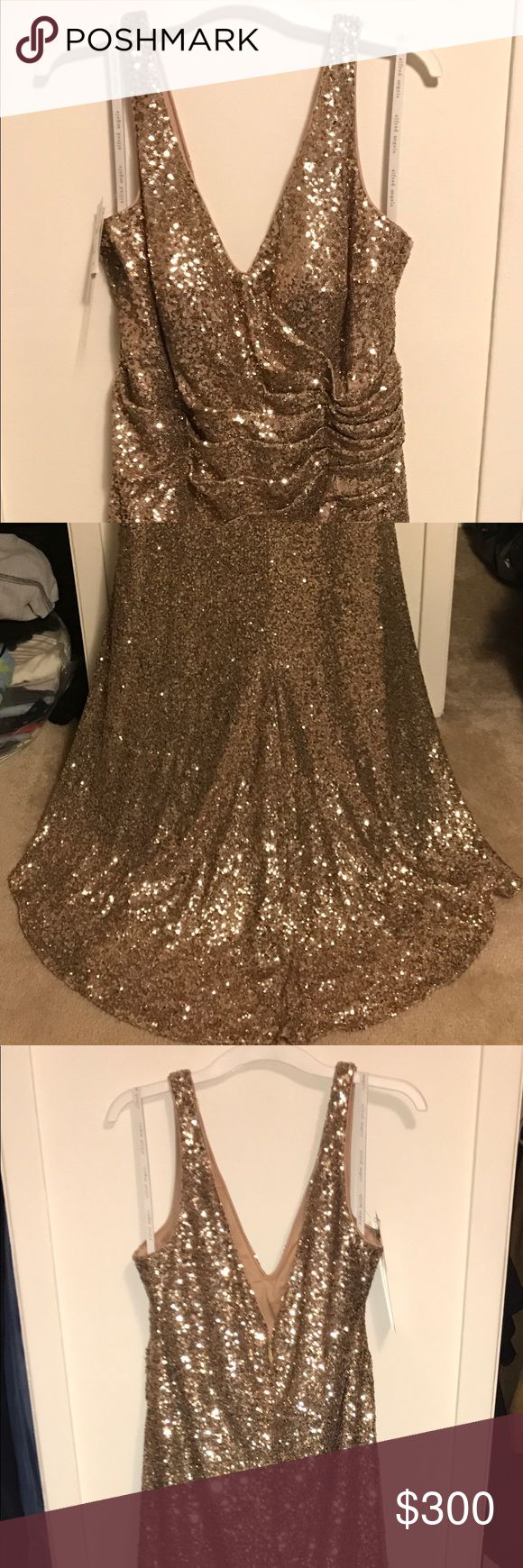 Alfred Angelo Sapphire Collection 8115L Gold Completely beaded in gold sequin gown. Very flattering and beautiful. Alfred Angelo Dresses
