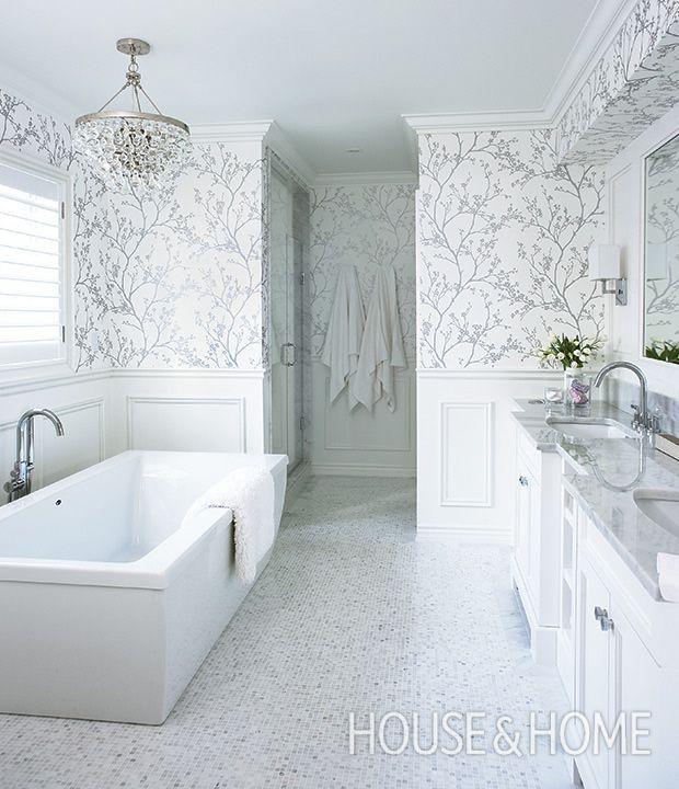 This unabashedly feminine ensuite bathrom is glam but super functional. | Photographer: Angus Fergusson | Designer: Jennifer Worts