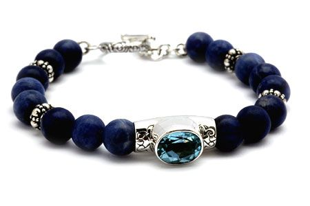 Silver bracelet with blue topaz sky and sodalite beads rd 8mm,Bali motif