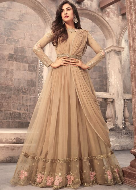 38918c7dc9 Panash Scinitllating Suits - Buy Sonal Chauhan Beige Net Abaya Style Suit  online, Work: Resham Work, Stone Work, Zari, Color : Beige, Occassion :  Engagement ...