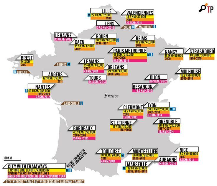 Mapa de ciudades francesas con tranvía.