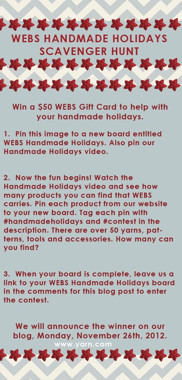 WEBS Handmade Holidays Scavenger Hunt Contest #handmadeholidays #contest