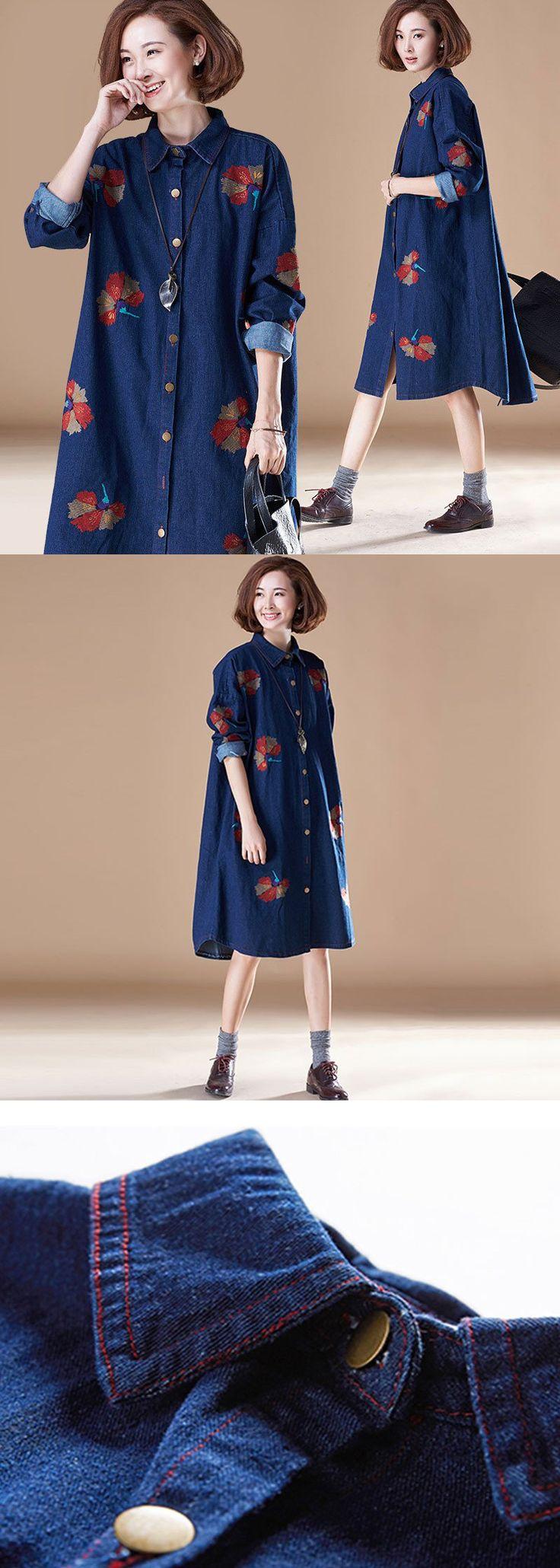 Embroidered Denim Dress More