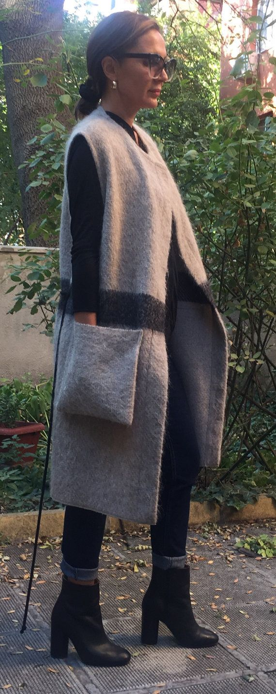 """Maxi Extravagant Mohair sleeveless Coat/Vest So stylish and comfy.. all season vest<3 it goes with everything...just follow your inspiration... you can put it on your Jacket,Sweater or Blouse,shirt or t-shirt ...Just Perfect finish to your Everyday wear... So Easy to Wear and Soft...you are going to Love this Vest CAN BE MADE IN ALL SIZES SIZE CHART SIZE XS bust: fits bust around 33.5"""" / 85cm Waist: fits waist around 26"""" / 66cm Hips: fits hips around 36"""" / 91cm For overall height..."""