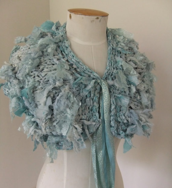 RESERVED for KIM recycled silk lace collar scarf soft faded dusty blues hand knitted by plumfish