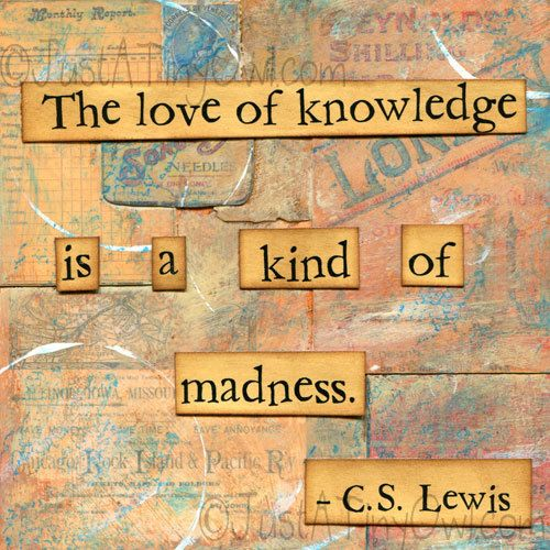 The Love of Knowledge is a Kind of Madness Mixed Media 8x8 Print