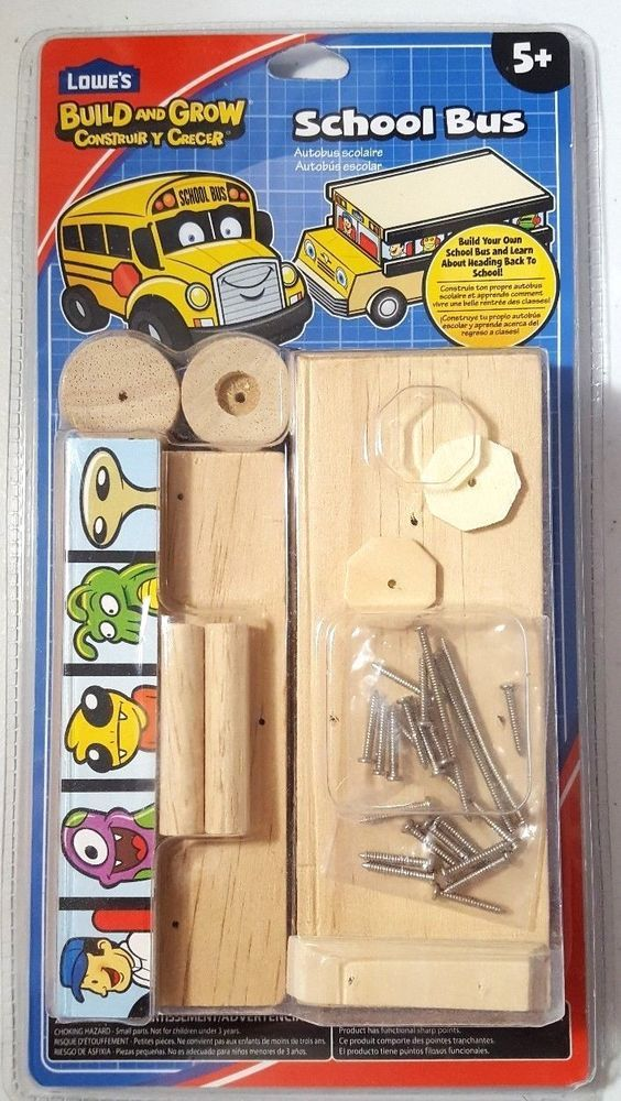 Lowes Build and Grow Kid's Beginner Build and Grow School Bus Project Kit  #Lowes