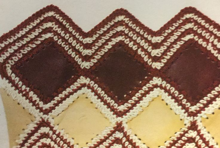 Crochet & leatherwork diamond pattern.  Crochet stitch library.  Busy Needles part 48