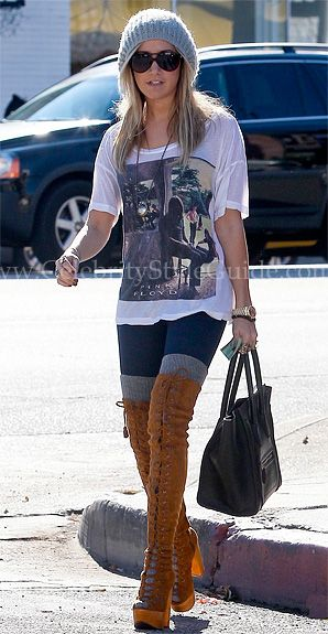 Ashley Tisdale Style and Fashion - Jeffrey Campbell Devandra Tall Lace Up Boots - Celebrity Style Guide