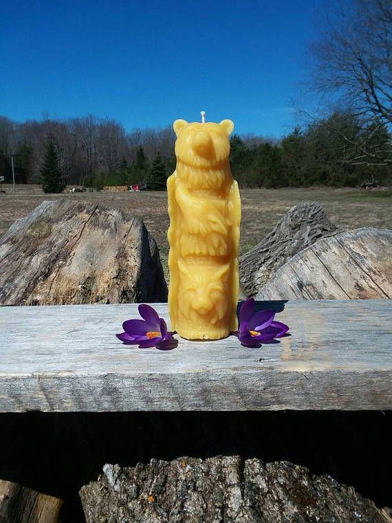 Totem Pole Beeswax Candle  Decorative  Handmade 100% Beeswax