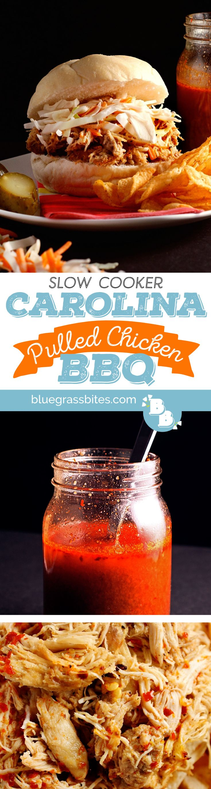Smoky, vinegar-based Carolina #BBQ with a spicy kick. You won't believe this BBQ came from a #crockpot!