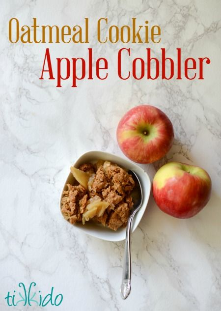 Oatmeal cookie dough makes an amazing apple cobbler crust. This is your new favorite fall dessert.