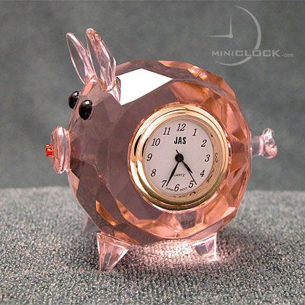 Mini Clock, Miniature Clocks, Pink CRYSTAL PIG
