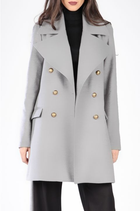 DOUBLE BREASTED COAT WITH OVERSIZED LAPELS AND BELT