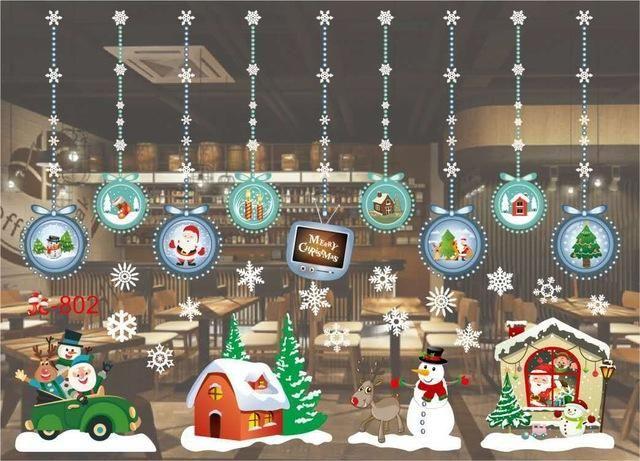 Window Glass Sticker Christmas New Year Snow Town Wall Stickers PVC